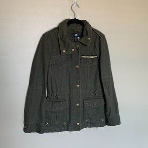 H&M army green canvas military coat size 4